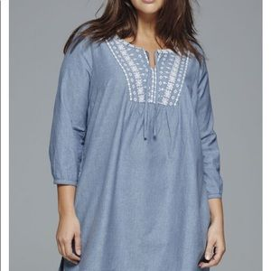 Chambray denim tunic embroidered 3/4 sleeve NWT 14